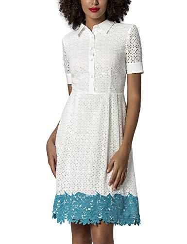 APART Bezauberndes Damen Kleid, Sommerkleid, in Lochstickerei, gesäumt mit Spitzenbordüre in Türkis, EIN sommerlicher Eye-Catcher