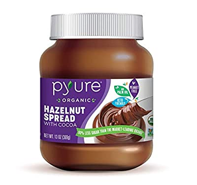 Organic Hazelnut Spread with Cocoa by Pyure | Keto Friendly, No Palm Oil, Vegan, Peanut Free | 90% Less Sugar Than the Market Leading Brand, 13 Oz