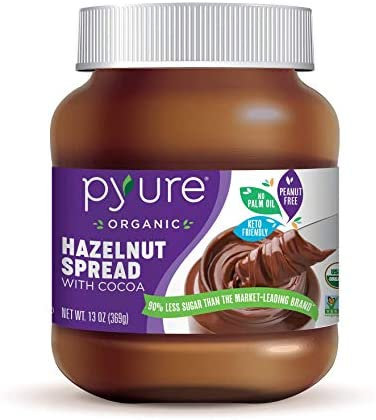 Organic Hazelnut Spread with Cocoa by Pyure Keto Friendly No Palm Oil Vegan Peanut Free 90 Less product image