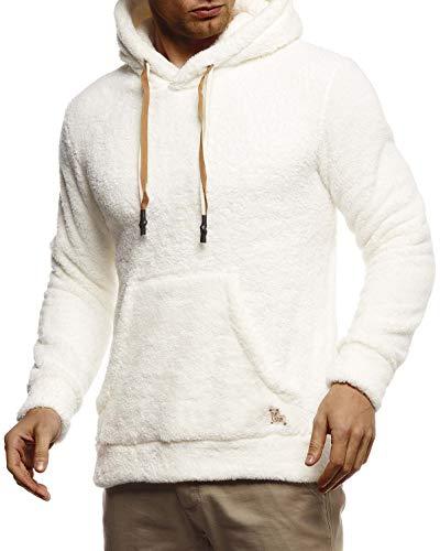 Leif Nelson Herren Hoodie Teddy Fleece Pullover mit Kapuze Kapuzenpullover für Männer Pulli Longsleeve Sweatshirt LN20105 Größe XL Ecru