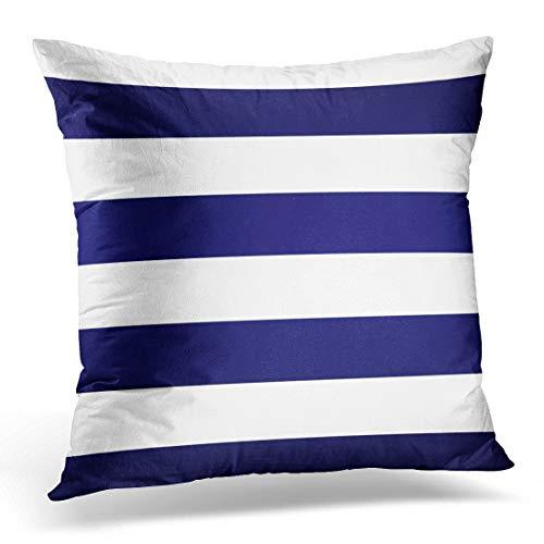 Jhonangel Funda de Almohada de Tiro Lindo geométrico Azul Marino y Blanco contemporáneo Funda de Almohada Decorativa decoración del hogar Funda de Almohada Cuadrada 18x18 Pulgadas
