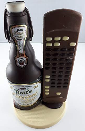 04#022621 Schokolade, Bierflasche, in ORIGINAL Größe, mit Fernbedienung, Potts Bier, Bierflasche aus Schokolade, Schokoladenbierflasche, echte Etiketten