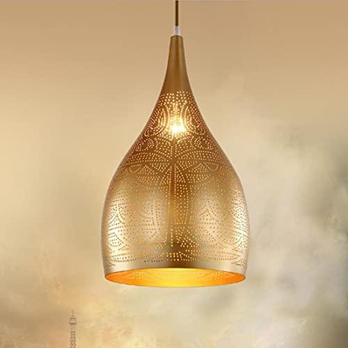 Lampadario minimalista, stile vintage oro, lampada da tavolo da pranzo, stile moderno, in metallo, con paralume in ferro, per ufficio, soggiorno, cucina, caffetteria, altezza regolabile, Ø 25 x 42 cm