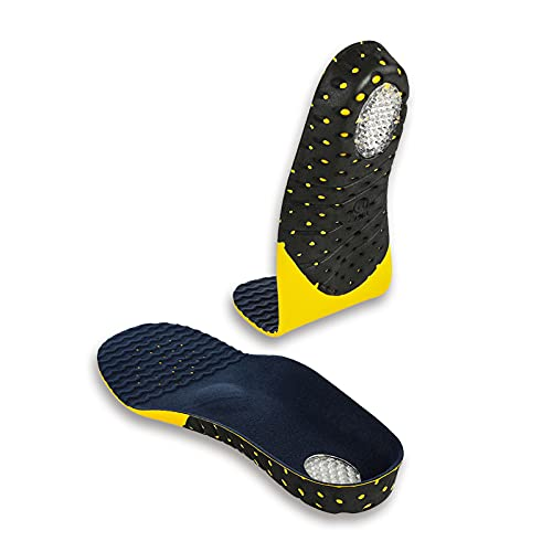 Plantar Fasciitis Insoles for Men and Women, 245mm Adaptable Hard Arch Support Shoe Inserts, 1 Pair of Orthotic Shoe Insoles for Flat Foot Pain Relief, EVA Athletic Gel Insoles for Work Boots