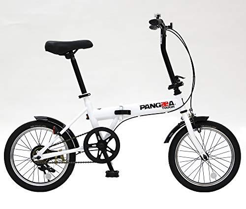 PANGAEA(パンゲア) パンクしない折りたたみ自転車 FDB160-NP タフ コンパクト ホワイト ノーパンクタイヤを採用 16インチ 泥除け装備 94202-1299