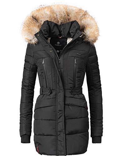 Marikoo Damen Winter Mantel Steppmantel Nova (vegan hergestellt) Schwarz Gr. S