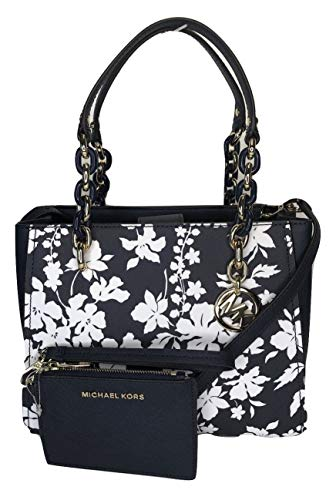 Bundle of 2 items: MICHAEL Michael Kors Sofia MD NS Satchel bundled with Michael Kors Jet Set Travel Coin Purse Wristlet Double top handle with turtle chain detail in gold, Magnetic snap top closure Interior : 2 main compartment, zipped compartment i...