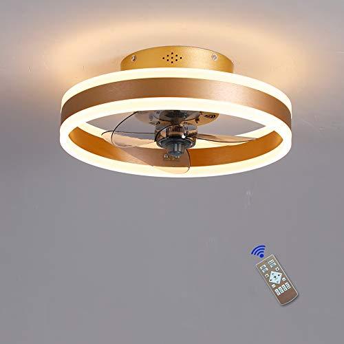 LHXY Dormitorio Led Ventilador de Techo Pequeño con Luz y Mando Silencioso Reversible 6 Velocidades Moderno Ventilador con Luz de Techo con Temporizador Regulable
