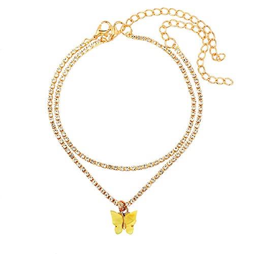 NIUBKLAS Tobillera Pulsera Bling Rhinestone Cherry Butterfly Mariposa Pulsera de Cadena de Cristal de Lujo Pulsera Cadena de Playa Joyería 2 Piezas-003703YW