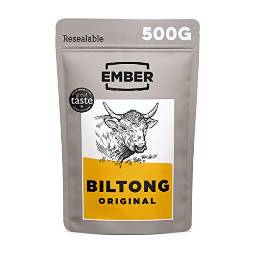 Ember Biltong 500g – Carne Secca Beef Jerky Originale – Snack Proteico, Senza Zuccheri Aggiunti – Gusto Original (1x500g)…