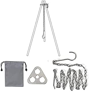 Camping Portable Campfire Stainless Steel Tripod Adjustable Camping Tripod Board Tripod for Cooking