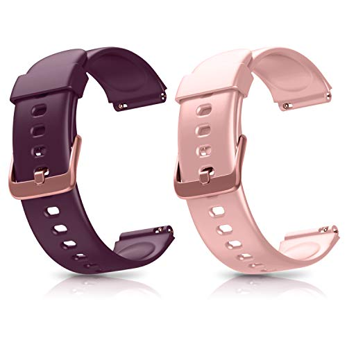 Letsfit ID205L ID205S Smart Watch Bands, Adjustable Smartwatch Replacement Straps for ID205L and ID205S Sport Watch, Replacement Accessory Bandst with 2 Pack, Pink+Purple