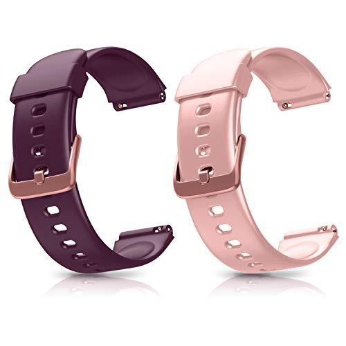 Letsfit ID205L - Pulsera de repuesto para reloj inteligente ID205L (ajustable, con 2 unidades), Rosa y lila.