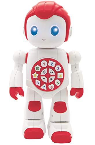 Lexibook ROB15EN Powerman Intelligentes interaktives Lernroboter, Spielzeug für Kinder, Tanzt, spielt Musik, Quiz, Zahlen, Formen, Farben, Jungen, Mädchen, Roboter, Junior, rot/weiß