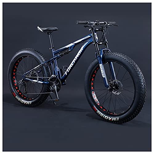 NENGGE Bicicletas de Montaña 26 Pulgadas, 7/21/24/27/30 Velocidad Bicicleta BTT de Fat Tire para Adultos, Doble Suspensión Freno Disco MTB, Marco de Acero de Alto Carbono,24 Speed,Blue Spoke