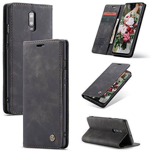 FMPC Handyhülle für Oneplus 7 Premium Lederhülle PU Flip Magnet Hülle Wallet Klapphülle Silikon Bumper Schutzhülle für Oneplus 7 Handytasche - Schwarz
