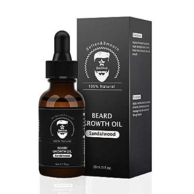 Beard Growth Oil, Natural Organic Hair Growth Oil Beard Oil Enhancer Facial Nutrition Moustache Grow Beard Shaping Tool Beard Care Products Hair Loss Products Sandalwood Scent(30ml)