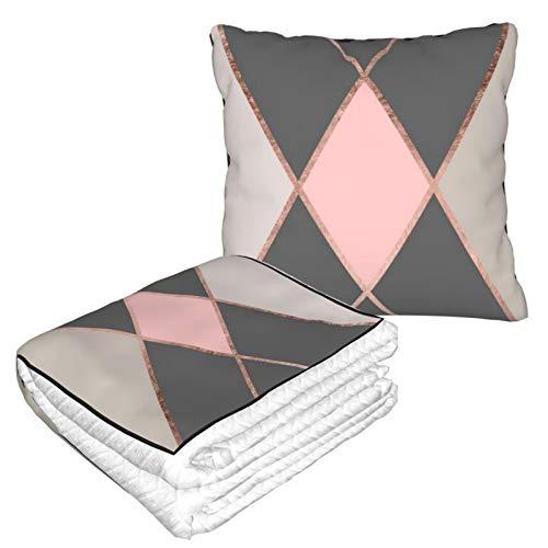 Manta de almohada de terciopelo suave 2 en 1 con bolsa suave moderna rosa gris bloque de color oro rosa rayas funda de almohada para el hogar avión coche viaje películas