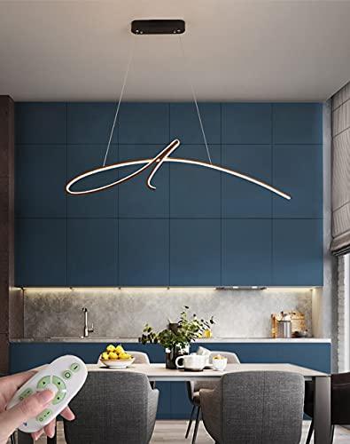 Modernas LED Regulable Comedor Iluminación colgante 32W, Curva con Mando a Distancia Negro Mesa De Comedor Luces Colgante Altura Ajustable, Aluminio Gel de Sílice Pantalla, Ø95CM/2560 Lumen
