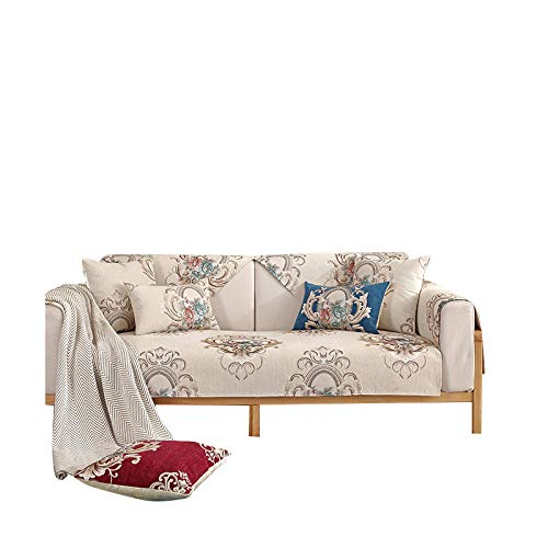Funda de sofá Antideslizante de Chenilla Jacquard de Alta Gama Funda de sofá seccional Antideslizante,Funda de sofá Acolchada en Forma de L,Funda de sofá para niños,Perros,Mascotas,Beige,70x240cm