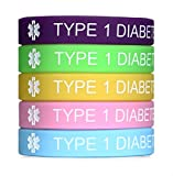 JF.JEWELRY Type 1 Diabetes Medical Alert ID Silicone Bangle Bracelet for Kids 7.5 inches Pack of 5