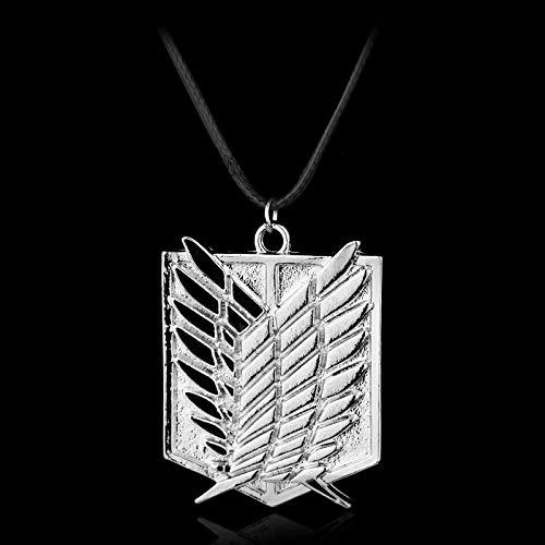 Collar con colgante de Attack On Giant Wings of Freedom con logotipo de Anime