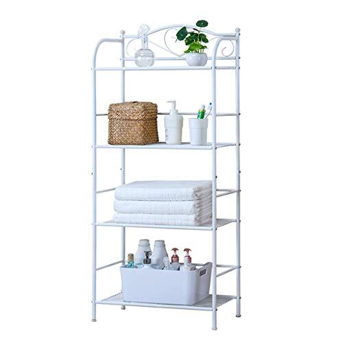 Yxx max Storage Organiser Shelving Units European-Style Multi-Function Kitchen Floor Mobile Storage Shelf Bookshelf Flower Shelf 4 Layer Finishing Rack White