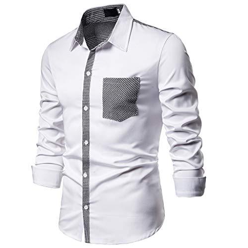 DNOQNHerren Langarmshirt Poloshirt Slim Fit Mit Knopfleiste Langarm Top Patchwork Knopf Slim Fit Umlegekragen Bluse Shirt XXL