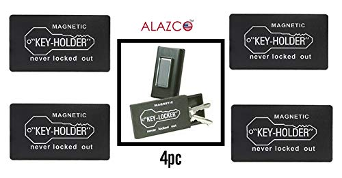 4pc ALAZCO 3'' Plastic Hide-A-Key for Under Car Key-Holder Store Spare Key for Home Storage Office Truck Boat RV - Strong Magnetic Back