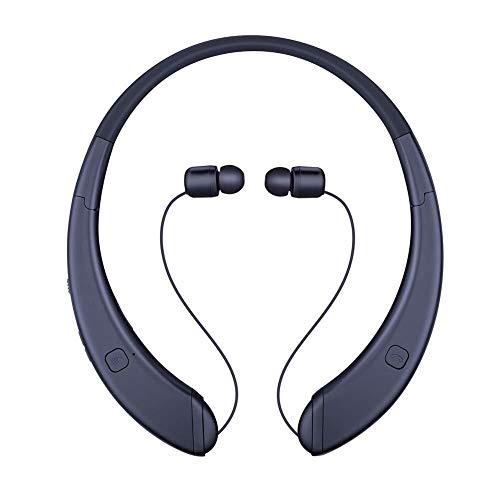 Casque Ecouteur, Brevet modèle privé Bluetooth Pliable Cou monté Sport Noir, Couleur: Argent (Color : Black)