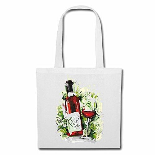 Tasche Umhängetasche Rotwein WEINGLAS WEINFLASCHE Vintage WEIßWEIN GLÜHWEIN Bier Wodka Schnaps Wein Alkohol Rotwein WEIßWEIN LIKÖR Einkaufstasche Schulbeutel Turnbeutel in Weiß