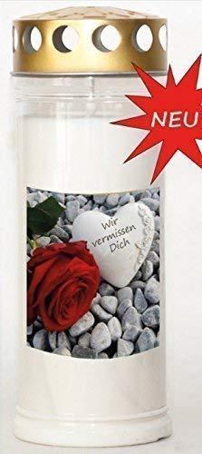 St. Jakob´s Motivkerzen - Grabkerzen in weiß mit Golddeckel - 24 STÜCK Grablichter mit Deckel - 7 Tage Wochenbrenner Grabkerzen - Friedhofskerze (Wir vermissen Dich)