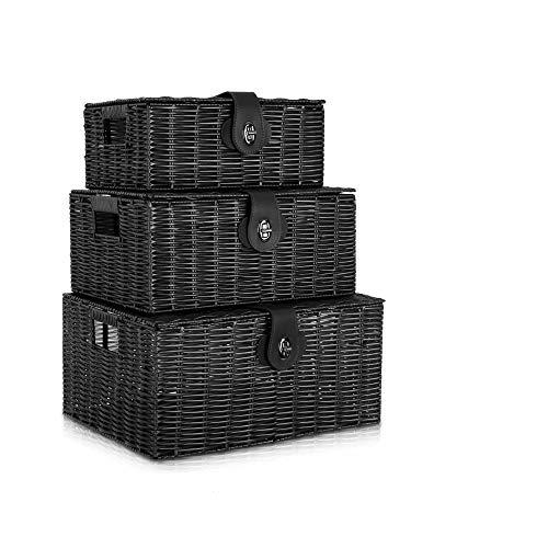 Set of 3 Woven Storage Baskets with Lid & Lock, Resin Woven Box Hamper Basket Storage Box (Black)