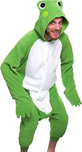 Silver Lilly Adult Pajamas - Plush One Piece Cosplay Animal Costume (Frog, XL)