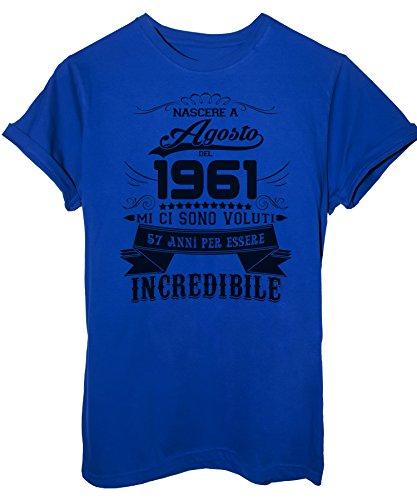 iMage T-Shirt Compleanno Nato Ad Agosto del 1961-57 Anni per Essere Incredibile - Eventi - Donna-S-Blu Royal