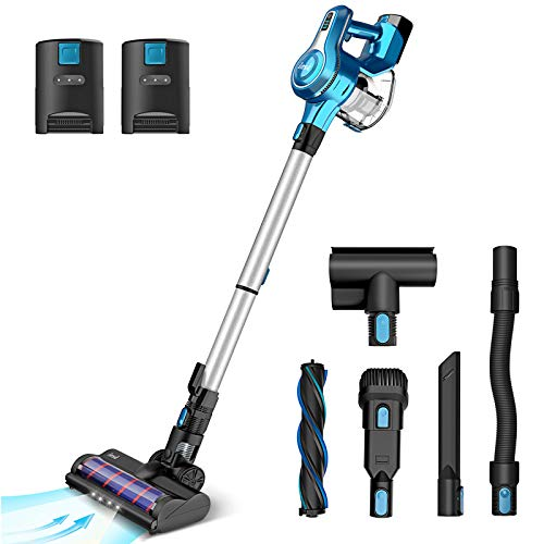 INSE S6P Cordless Vacuum Cleaner with 2 Batteries, Up to 80min Run-time Rechargeable Stick Vacuum, Lightweight Powerful Suction Handheld Vac for Hardwood Floor Carpet Pet Hair Car Bed, Blue