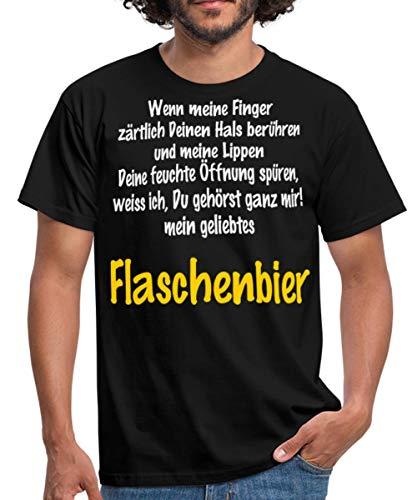 Flaschenbier Wenn Meine Finger Rahmenlos Männer T-Shirt, XL, Schwarz