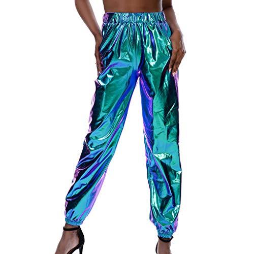 LOPILY Hose Damen Lackoptik Metallische Partyhosen Vintage 60er 70er Jerseyhose Reflektionierende Hose mit Gummizug am Knöchel Locker Haremshosen Damen Rockabilly Bundhosen (Blau, S)