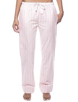 Noble Mount Women s Cotton Flannel Lounge Pants - Stripes Pink - X-Large