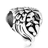 Poetic Charms - Charm per braccialetti o collane in argento Sterling 925 a forma di cuore con angelo custode. e Argento, cod. Pot_DPC_MYSS733