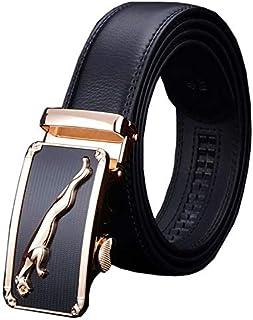 Men's Leather Belt Automatic Buckle Ratchet Men's Belt Soft Genuine Leather for Business Casual Jeans Dress 35mm Wide
