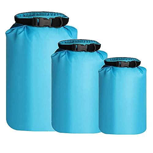 kuou 3Pcs Waterproof Dry Bags, Dry Sack Waterproof Bag Lightweight Dry Bag Snorkeling Bag Drifting Bag Sky Blue (5L+10L+20L)