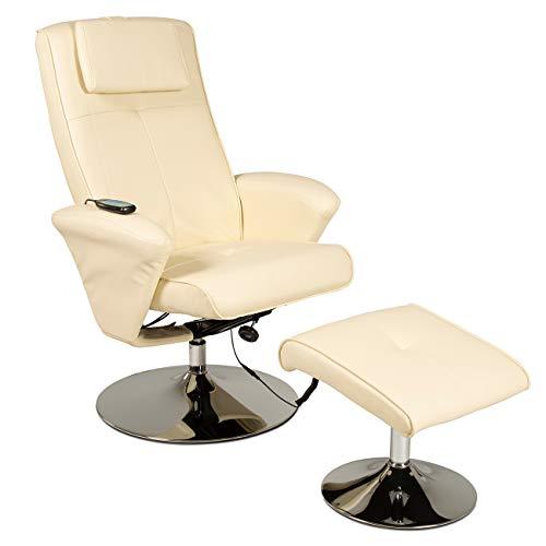 maxVitalis Relaxsessel mit Massagefunktion, Fernsehsessel, Sessel & Hocker mit Vibrations-Massage, Massagesessel mit Wärmefunktion, Liegefunktion, Drehbar, Massagestuhl, elektrisch, TV Stuhl (Creme)