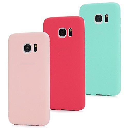 MAXFE.CO 3X Cover per Samsung Galaxy S7 Edge, Custodia Morbida Silicone TPU Flessibile Gomma Case Ultra Sottile Cassa Protettiva per Samsung Galaxy S7 Edge - Rosso + Rosa + Menta Verde