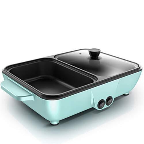 TLMYDD Hot Pot Barbecue, Barbecue sans Fumée Poêle Mixte Multifonctions À Double Contrôle Réglage Intelligent Hot Pot, Rose Bleu Barbecue électrique (Color : Blue)
