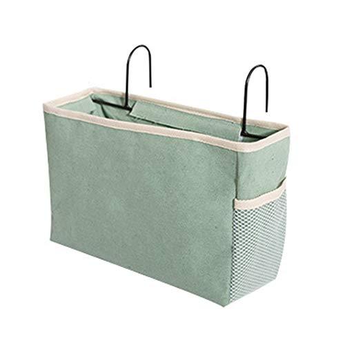 E EBETA Bett Tasche mit Drahthaken Hängetasche Hochbett Aufbewahrungstasche Bett Organizer für Buch, Magazin, Kopfhörer(Grün)