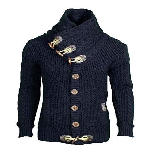 Suéter de un Solo Pecho de Color sólido para Hombre Personalidad Diseño de Cuello Alto Moda Todo fósforo Chaqueta de Punto cálida Delgada con Bolsillos 3XL