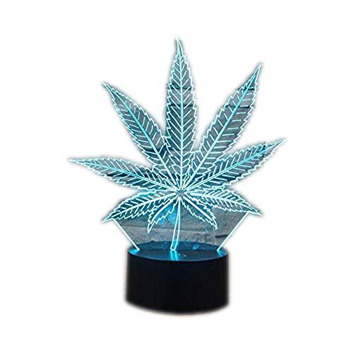 Ahat Romantische 3D Led Illusion Tisch Schreibtisch Deko Lampe 7 Farben ändern Nacht Licht für Schlafzimmer Home Decoration, Hochzeit, Geburtstag, Weihnachten und Valentine Geschenk(Cannabisblätter)