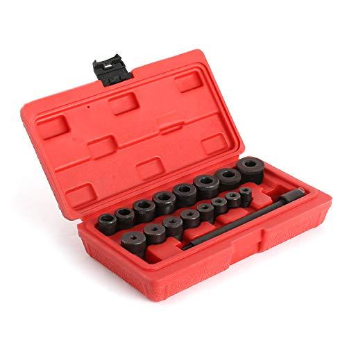 Todeco - Herramientas de centrador embrague, Kit de Alineación de Embrague - Material: Acero C45 - Tamaño de la caja: 21,5 x 12 x 5,5 cm - con estuche roja, 17 Partes