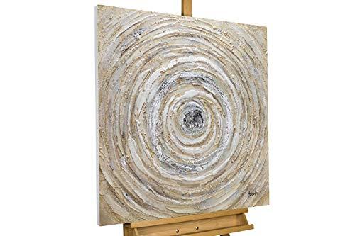 KunstLoft® Acryl Gemälde 'Ruddle Maelstrom' 80x80cm | original handgemalte Leinwand Bilder XXL | Abstrakt braun Kreis Spirale | Wandbild Acryl Bild Moderne Kunst einteilig mit Rahmen